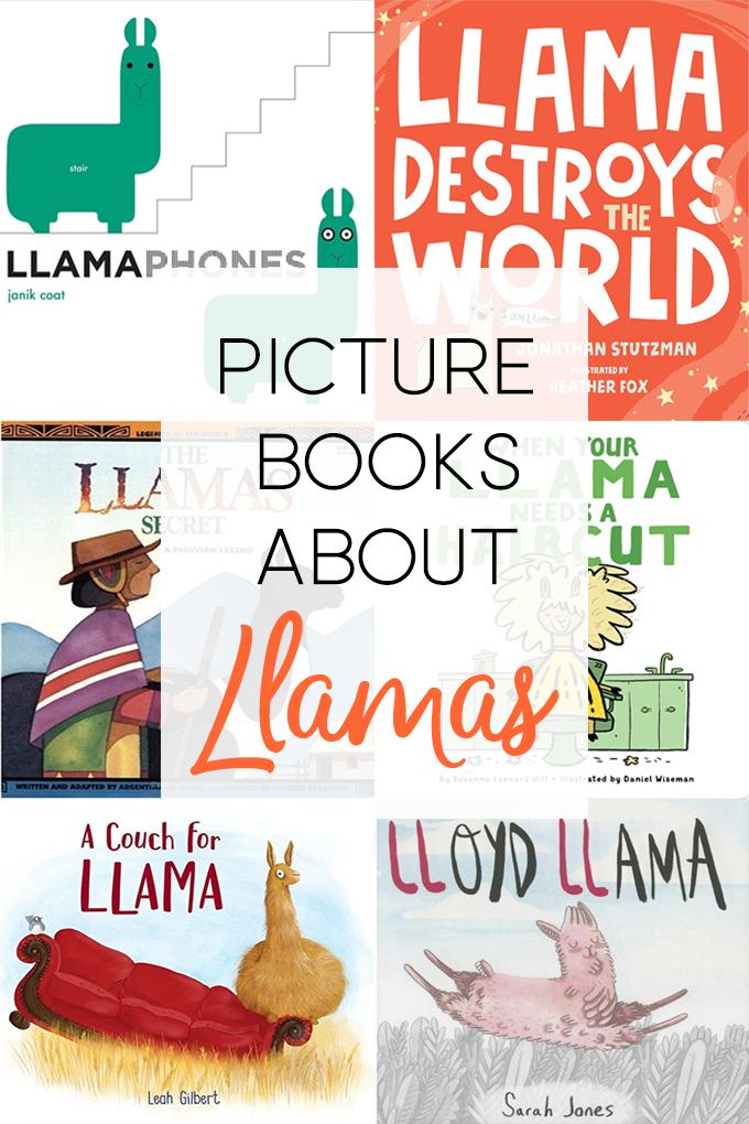 a collage of book covers for picture books about llamas