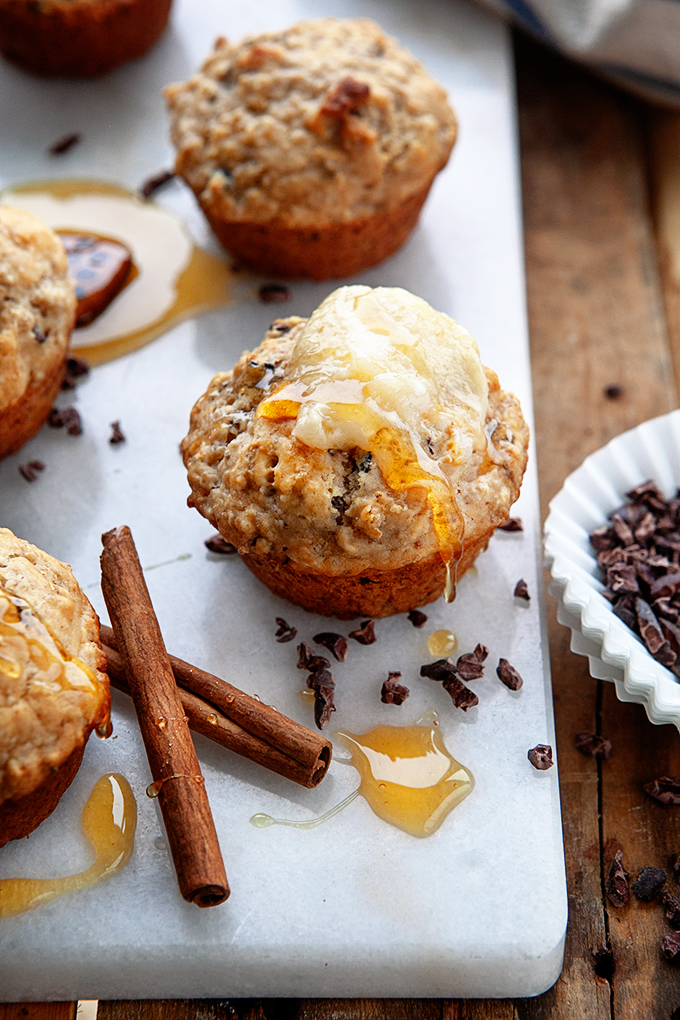 Leftover Oatmeal Muffins with Salted Honey Butter