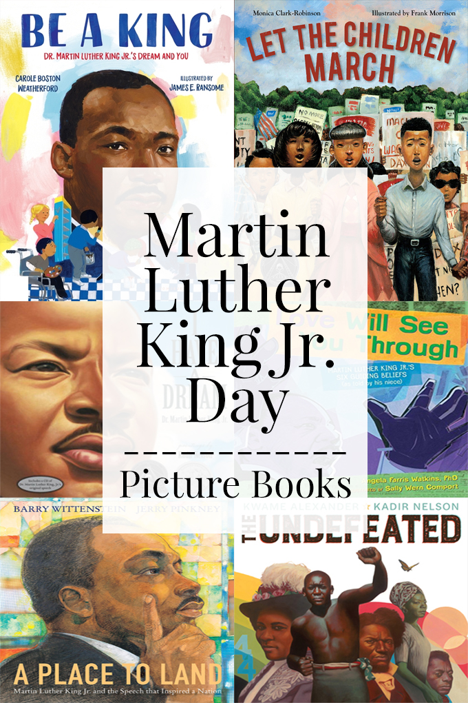Collage of book covers for picture books about martin luther king jr.