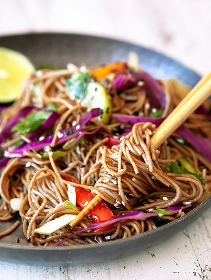 Soba Noodle Bowl with Rainbow Veggies