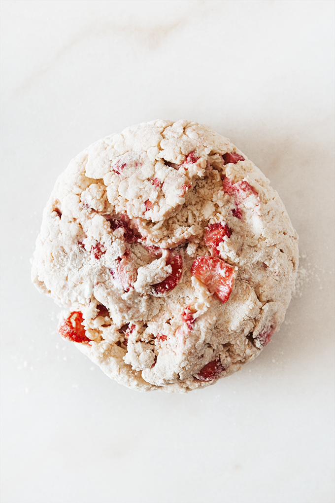 Shaping dough for strawberry scones