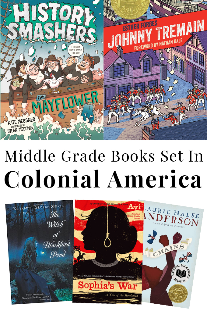 collage of book covers of middle grade books set in Colonial America