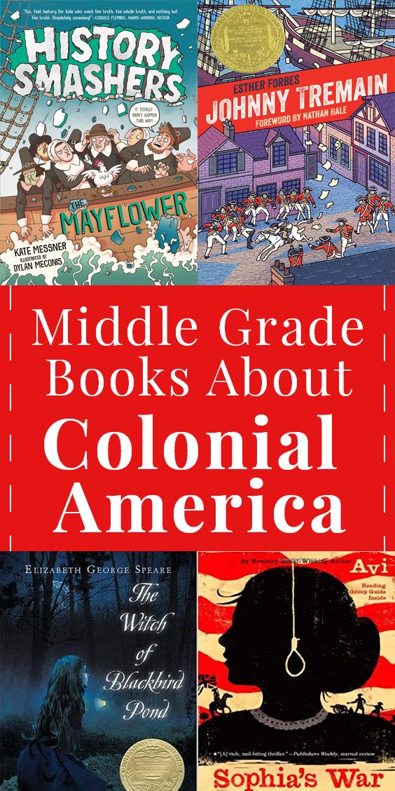 Collage of book covers of books set in Colonial America